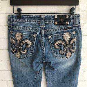 Mis Me Snakeskin Fleur De Lis Boot Cut Jeans 27